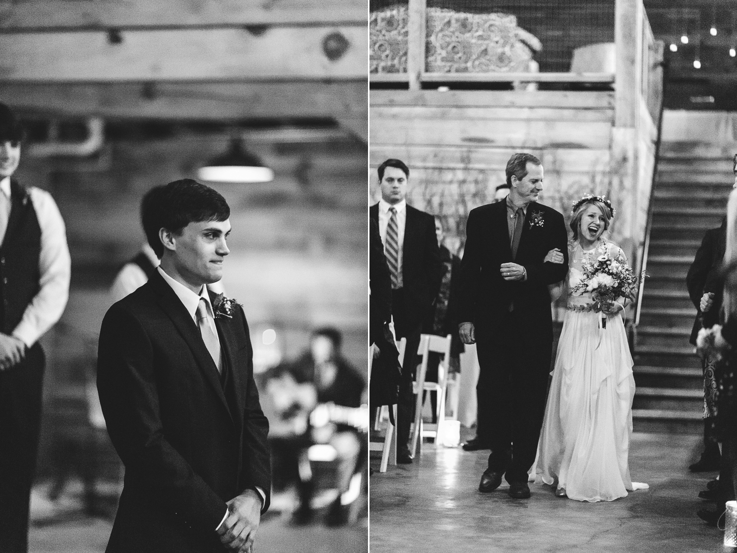 groom first sees his bride walk down the aisle