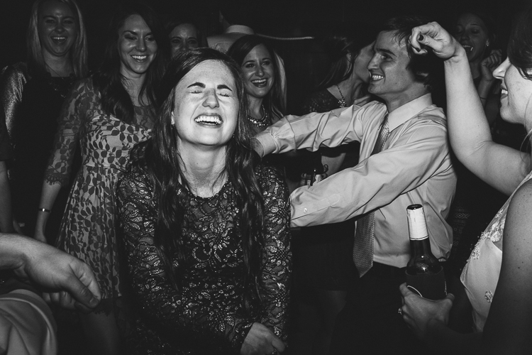 wedding guests having fun at reception