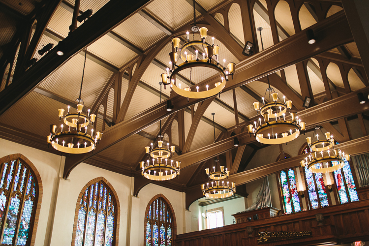 beautiful chandeliers in church