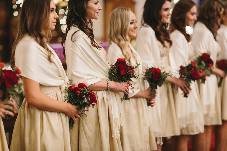 bridesmaids lined up in the church