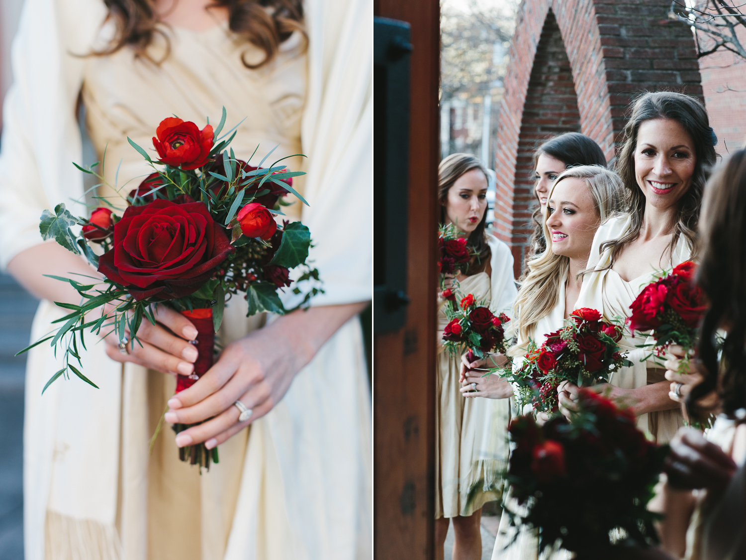bridesmaids red christmas bouquets