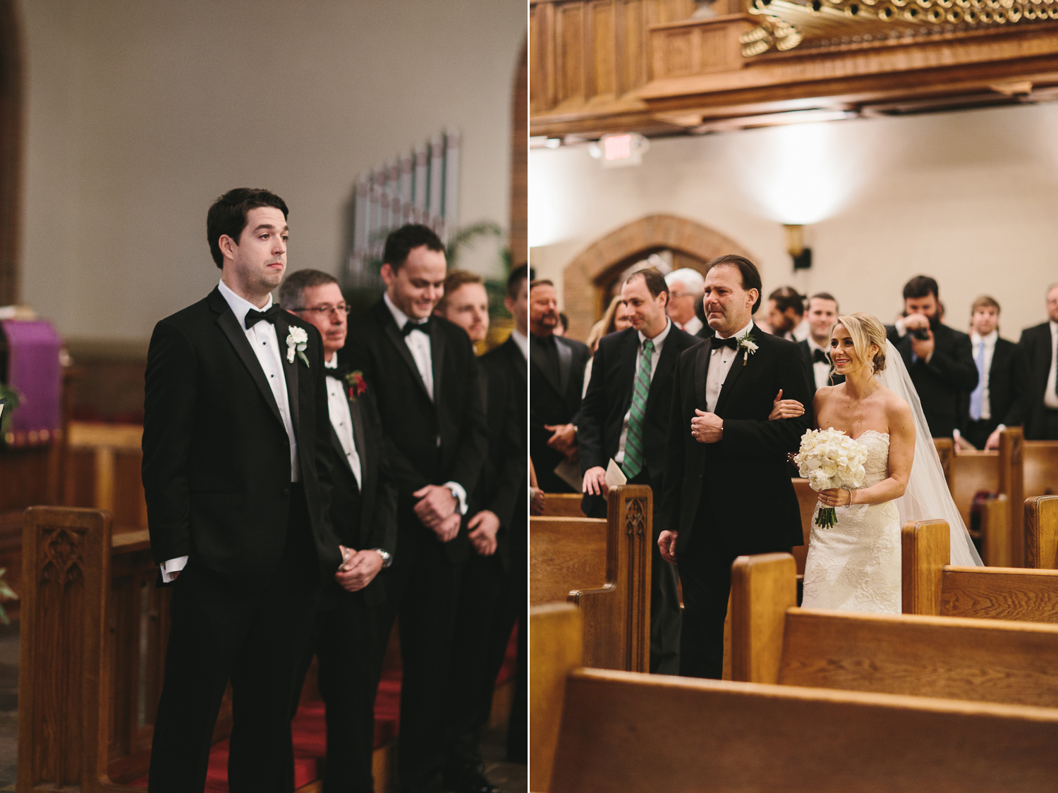 groom first sees his bride walking down the aisle