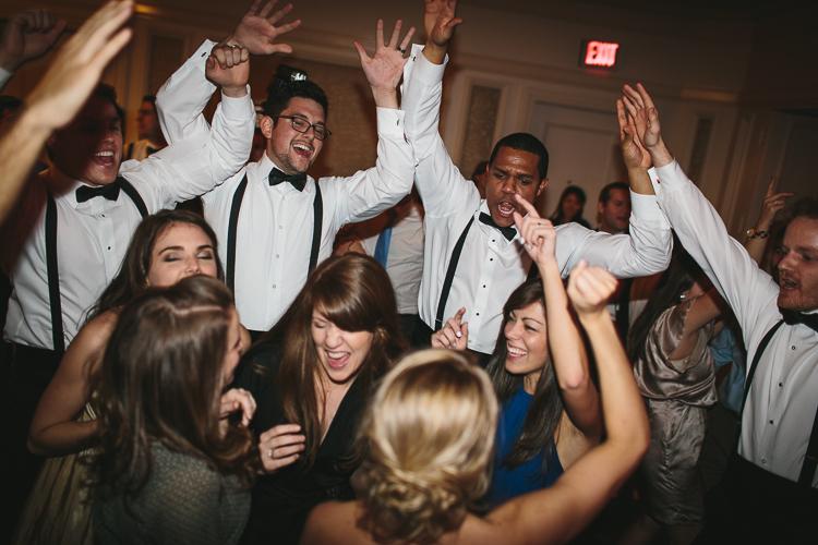 guests having a blast at wedding reception