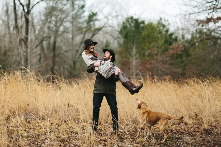 outdoor engagement portraits with their dog