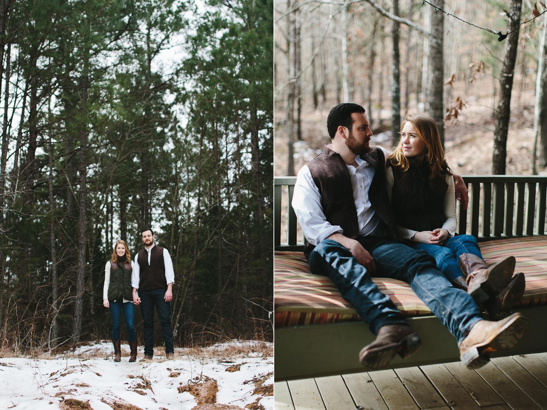 rustic winter engagement shoot