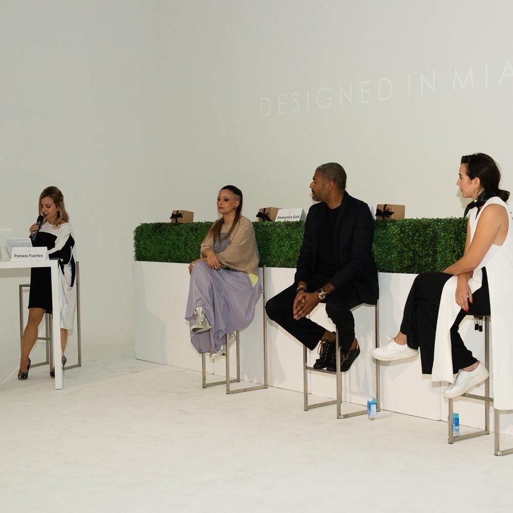 FGI Designed in Miami II – Panel Discussion lead by Tammy Apostol with panel members:Alessandra Gold, Fabrice Tardieu, and Simonett Pereira (Photo Credit: Garrin Evan Studios)