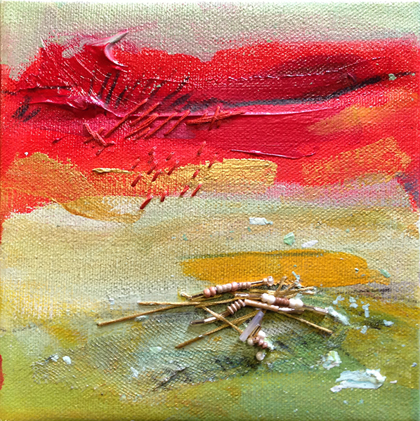 """6"""" x 6""""      SOLD   Mixed Media on Canvas"""