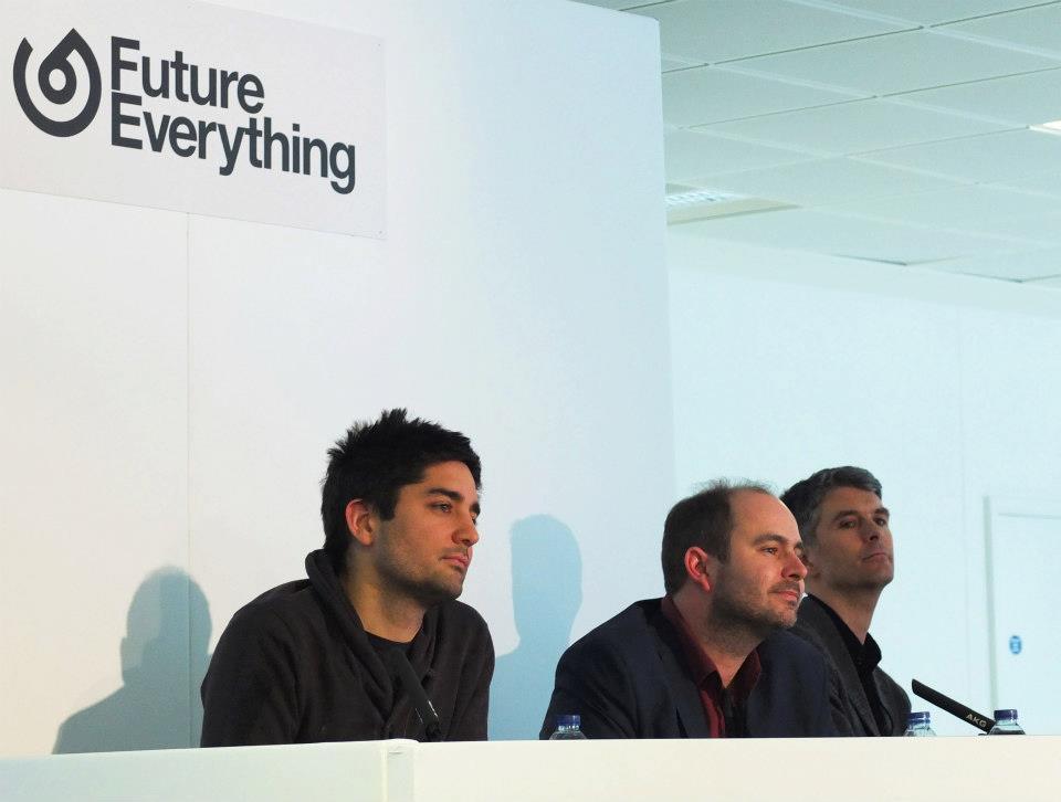 from left: Usman Haque, Martijn de Waal and Scott Cain