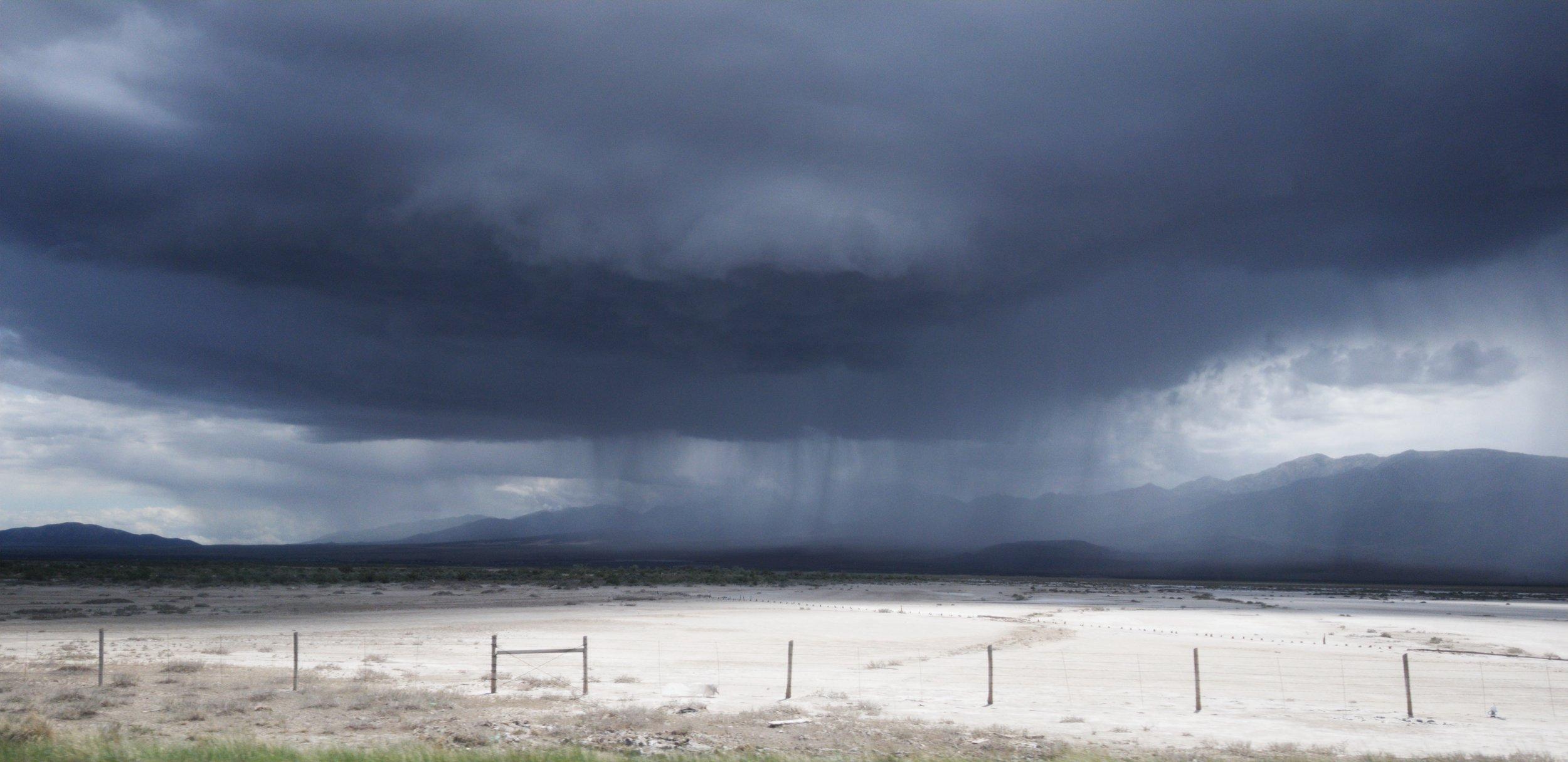 Storm over Bonneville Salt Flats, Utah