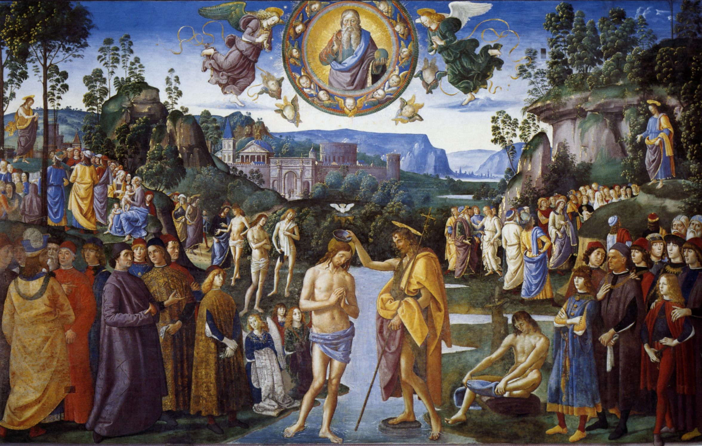 Pietro Perugino,  Baptism of Christ , c. 1482 (a fresco in the Sistine Chapel)