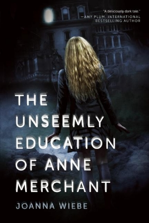 The Unseemly Education of Anne Merchant  (The V Trilogy #1) by Joanna Wiebe Hardcover, 272 pages Expected publication: January 14th 2014 by BenBella Books   Summary:  So many secrets for such a small island. From the moment Anne Merchant arrives at Cania Christy, a boarding school for the world's wealthiest teens, the hushed truths of this strange, unfamiliar land begin calling to her—sometimes as lulling drumbeats in the night, sometimes as piercing shrieks.  One by one, unanswered questions rise. No one will tell her why a line is painted across the island or why she is forbidden to cross it. Her every move—even her performance at the school dance—is graded as part of a competition to become valedictorian, a title that brings rewards no one will talk about. And Anne discovers that the parents of her peers surrender million-dollar possessions to enroll their kids in Cania Christy, leaving her to wonder what her lowly funeral director father could have paid to get her in… and why.