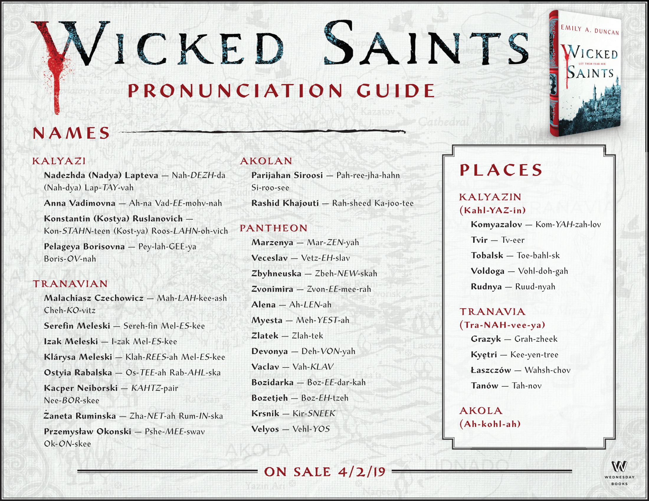 Wicked Saints Pronunciation Guide