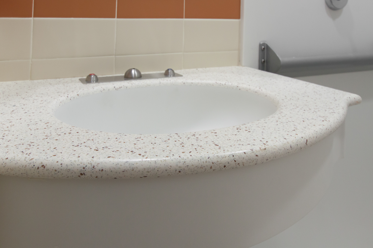 Integral sink. UMASS Medical Center. Photo credit: Kyle Caldwell