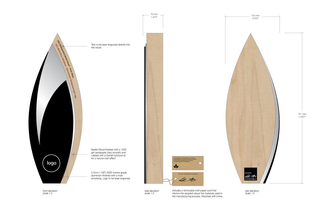 custom eco trophy - sustainable materials - andrew watson design