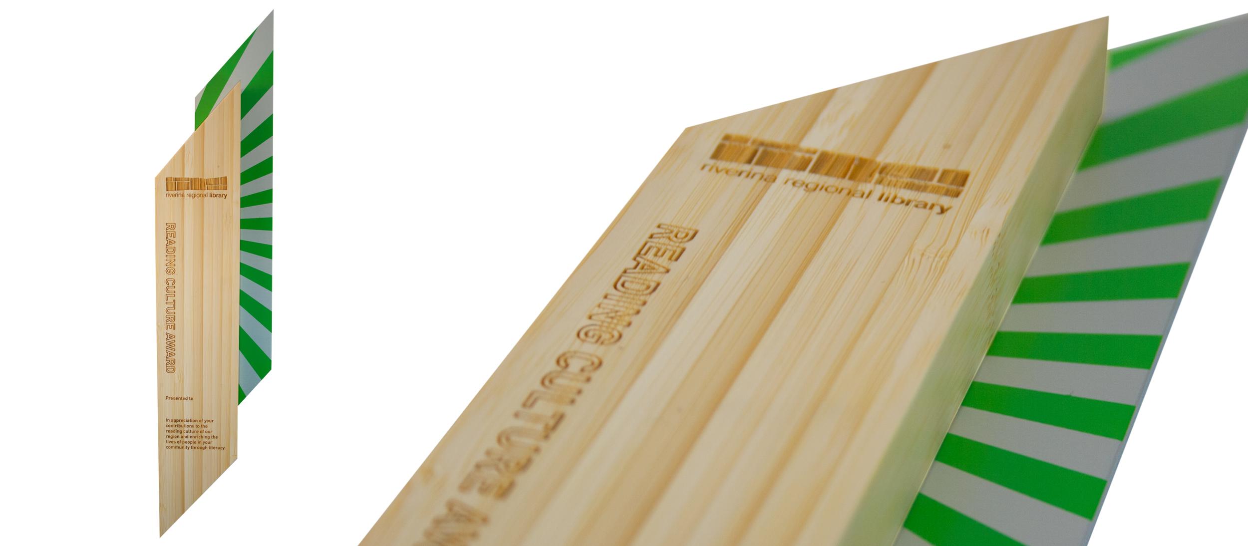 riverine regional library - eco-friendly bamboo, modern plaque design
