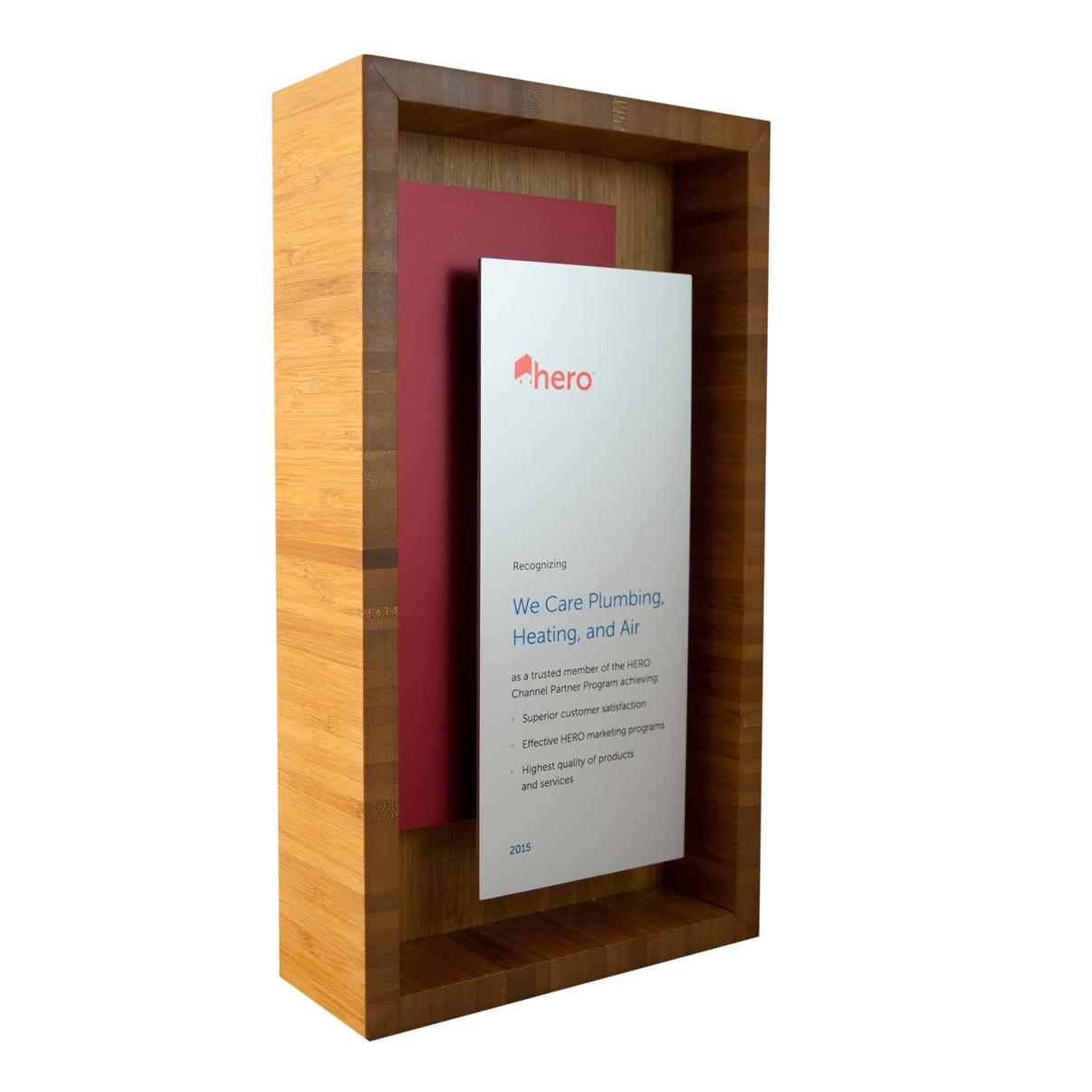 hero - custom shadow box plaque, modern design
