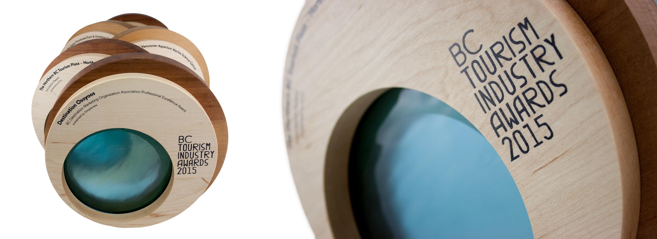 bc tourism industry awards custom creative eco design wood trophy