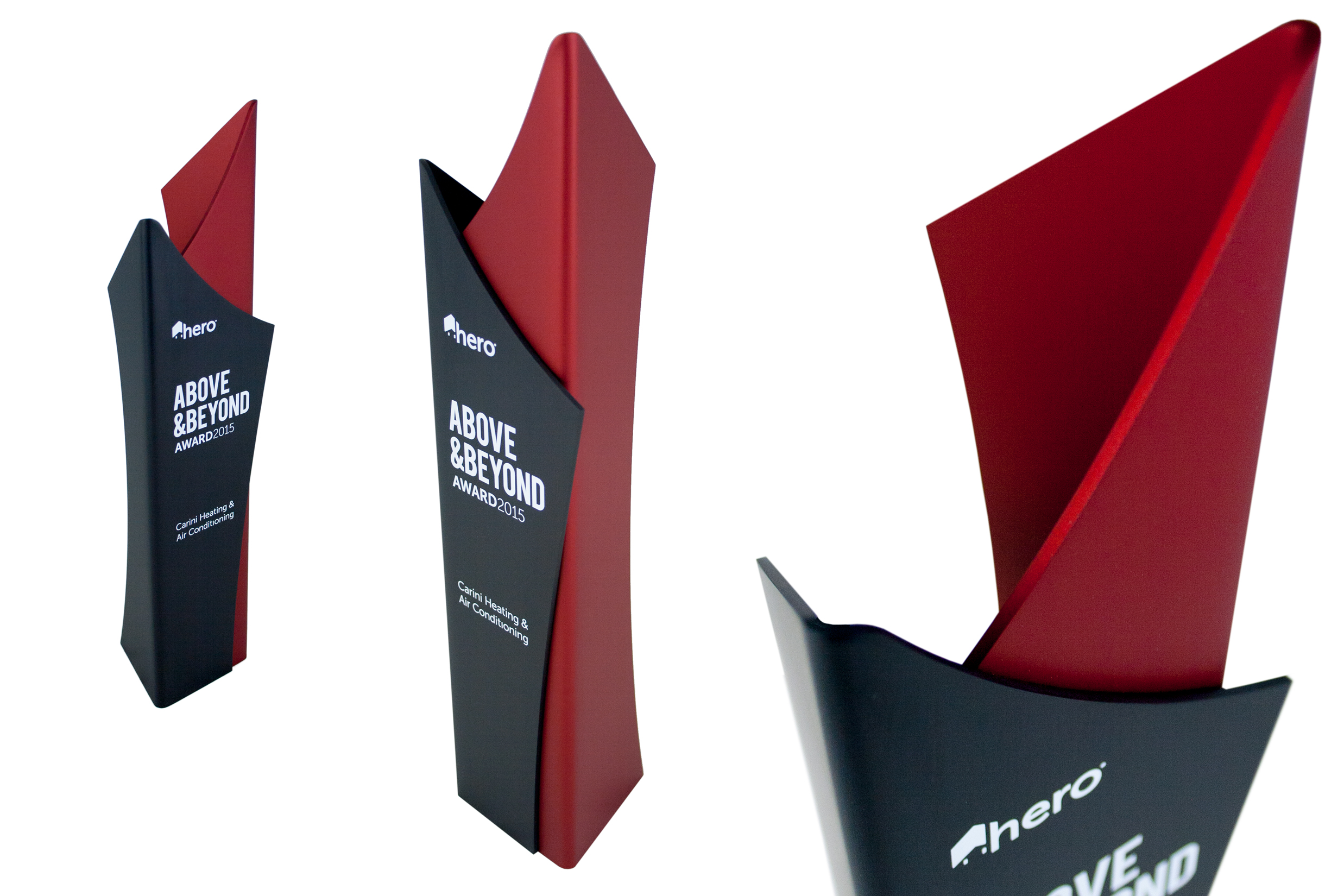 hero above and beyond awards -tall modern trophy design