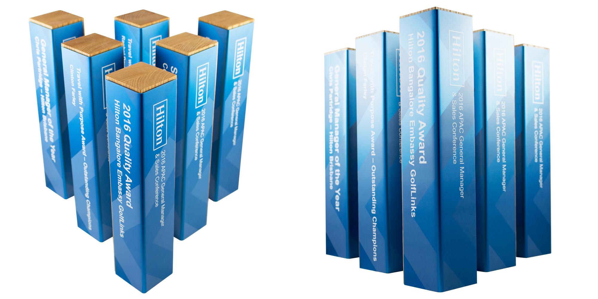 hilton awards custom eco friendly awards hardwood oak