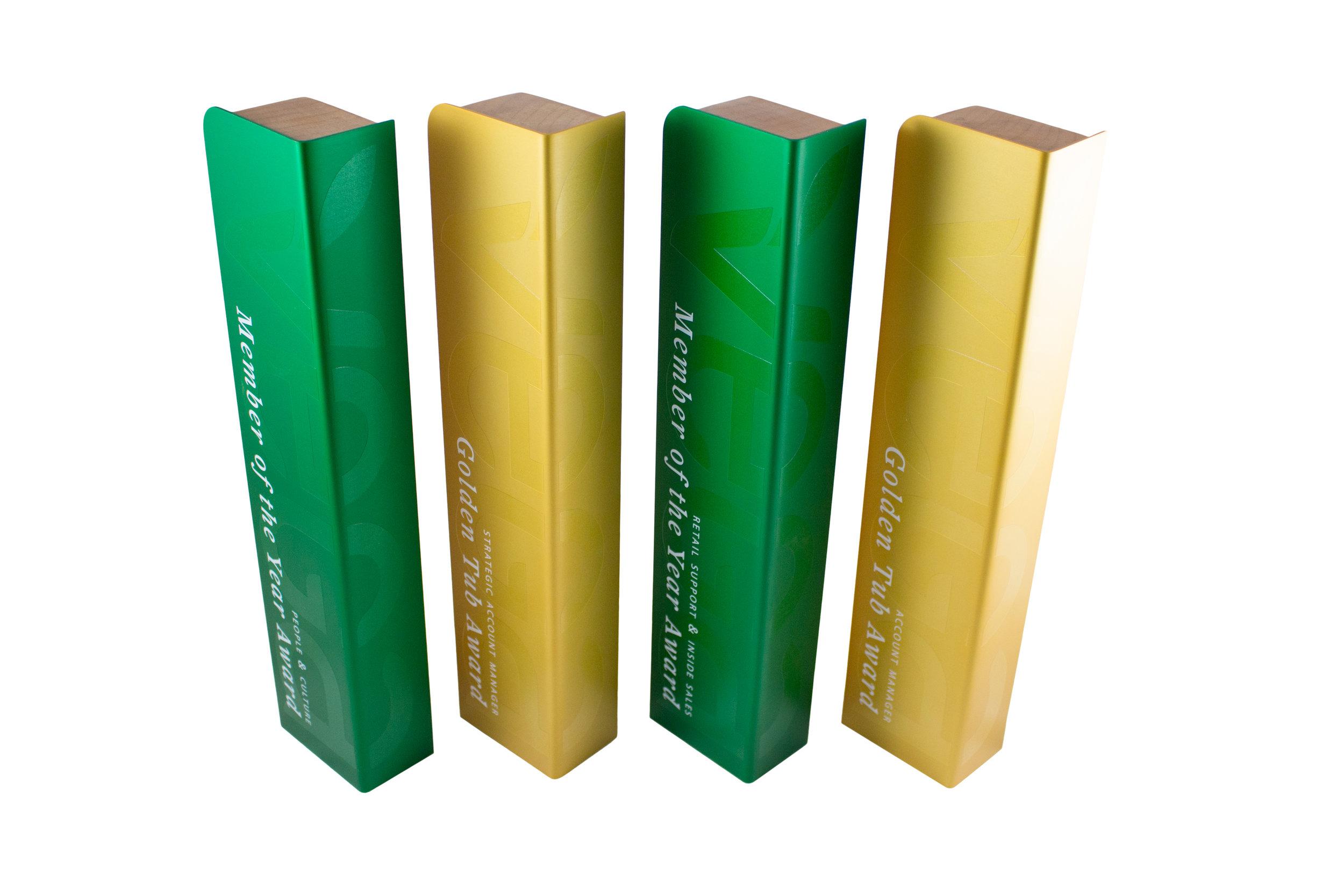 vega custom recovered wood sustainable awards trophies