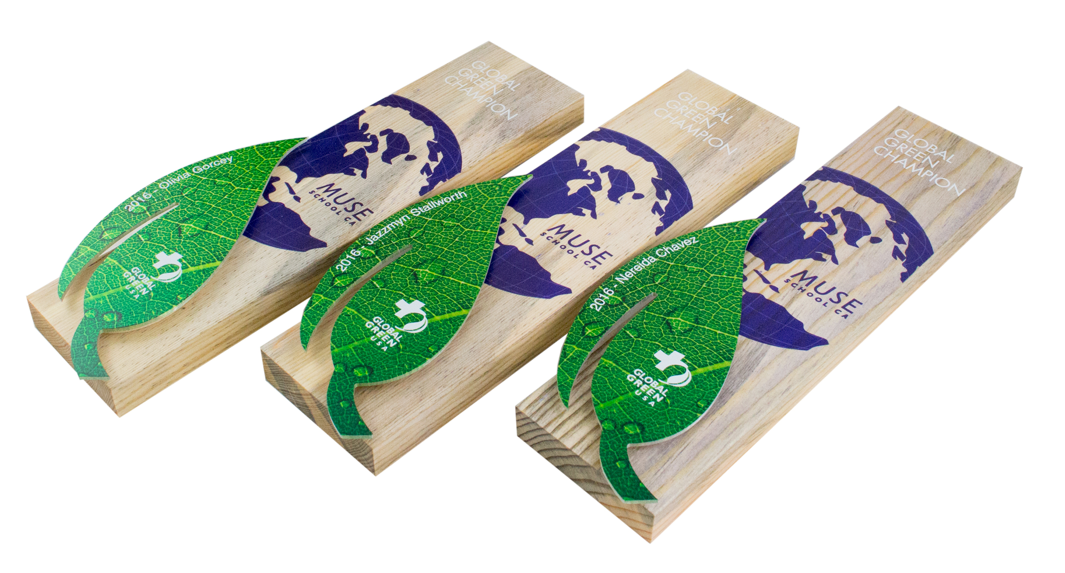 global green usa custom pre-oscar eco plaques recovered wood