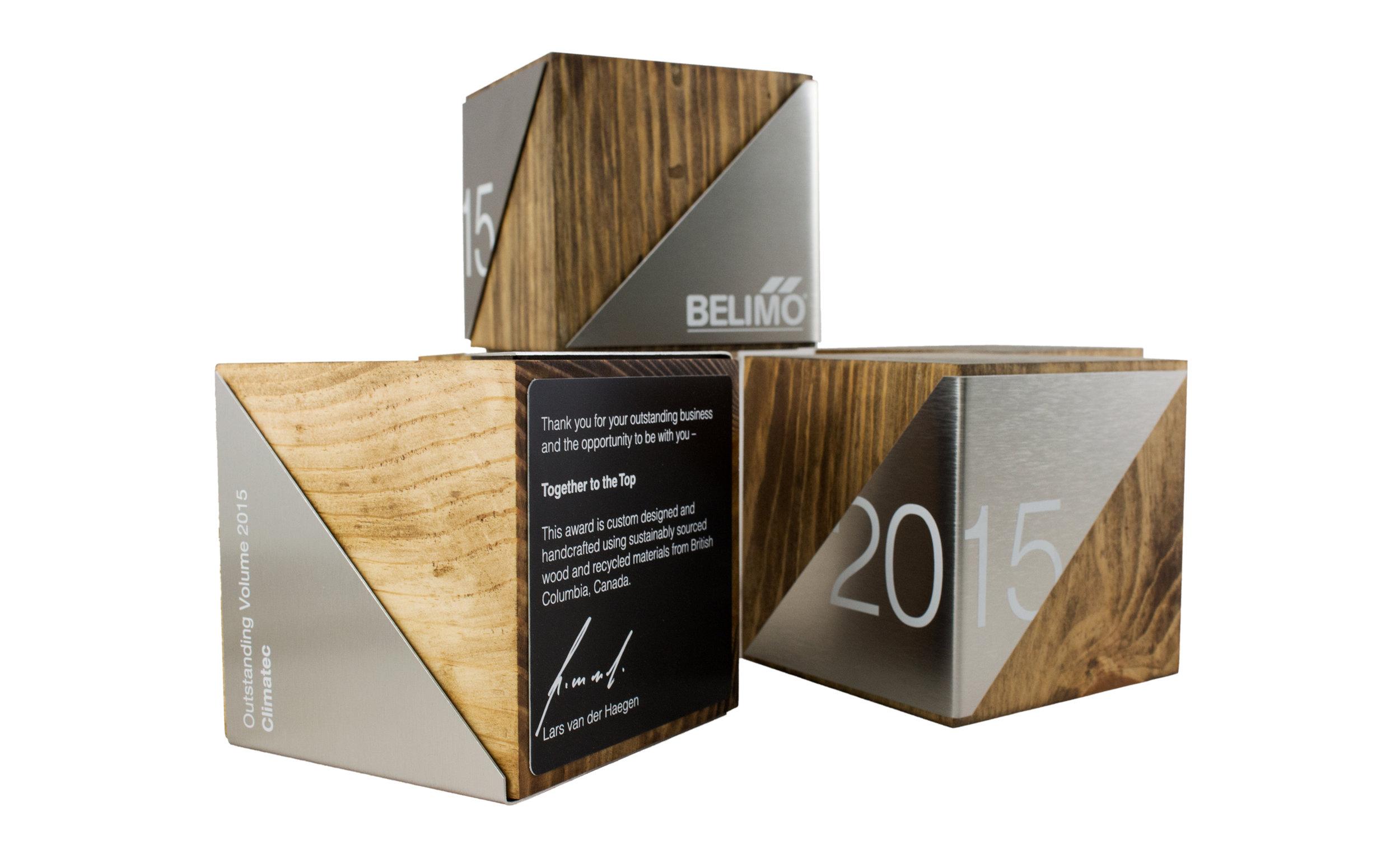 custom wood block awards recovered wood