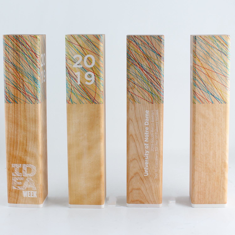 IDEA week custom eco friendly wood awards.