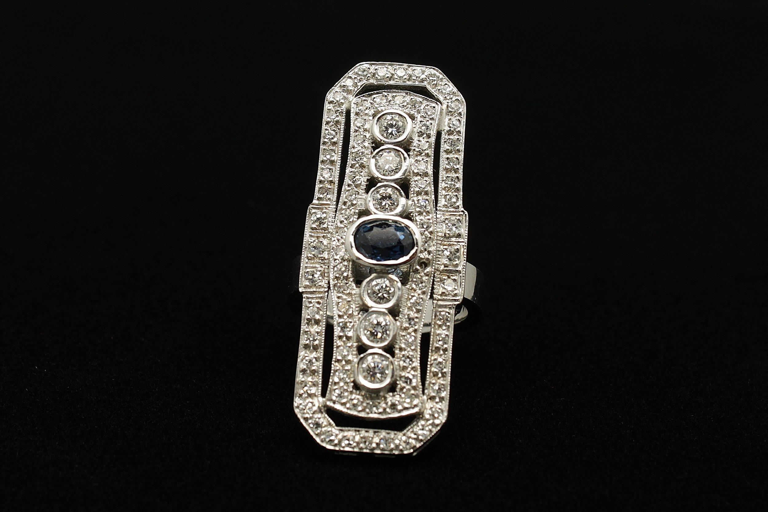Vintage 14kt Diamond 2.35cts Sapphire 1ct Ring