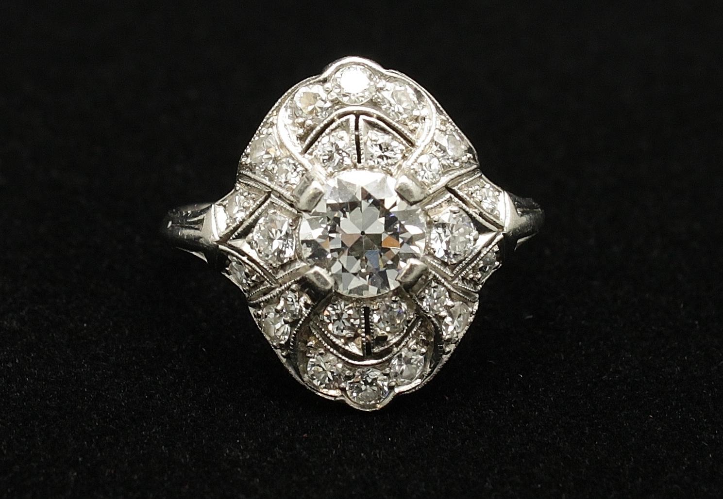 Antique Platinum Diamond 2.1cts