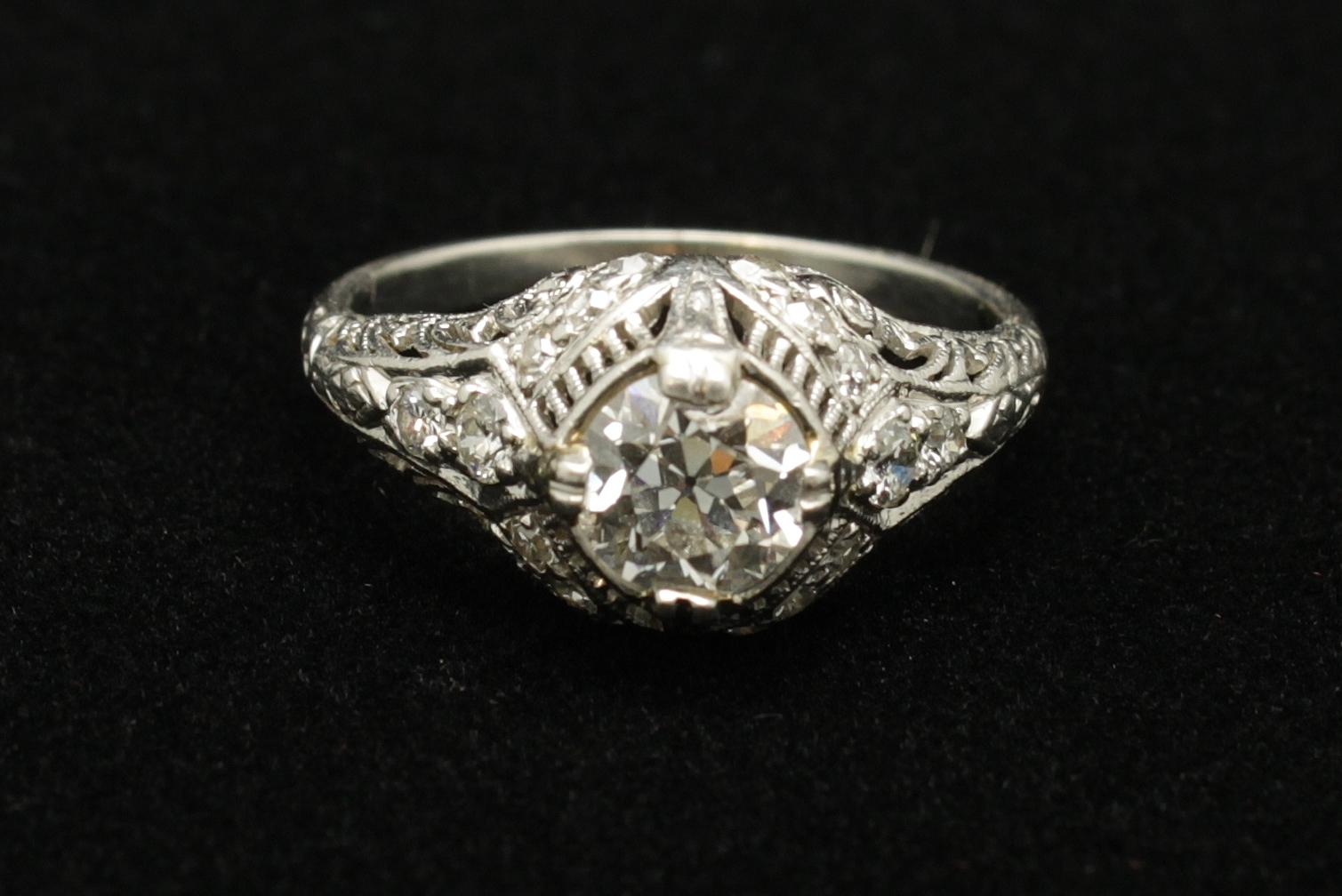 Antique Platinum Diamond Old European Cut 1.14 cts