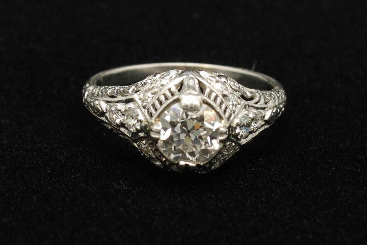 Antique Platinum Diamond Old European Cut 1.14 cts