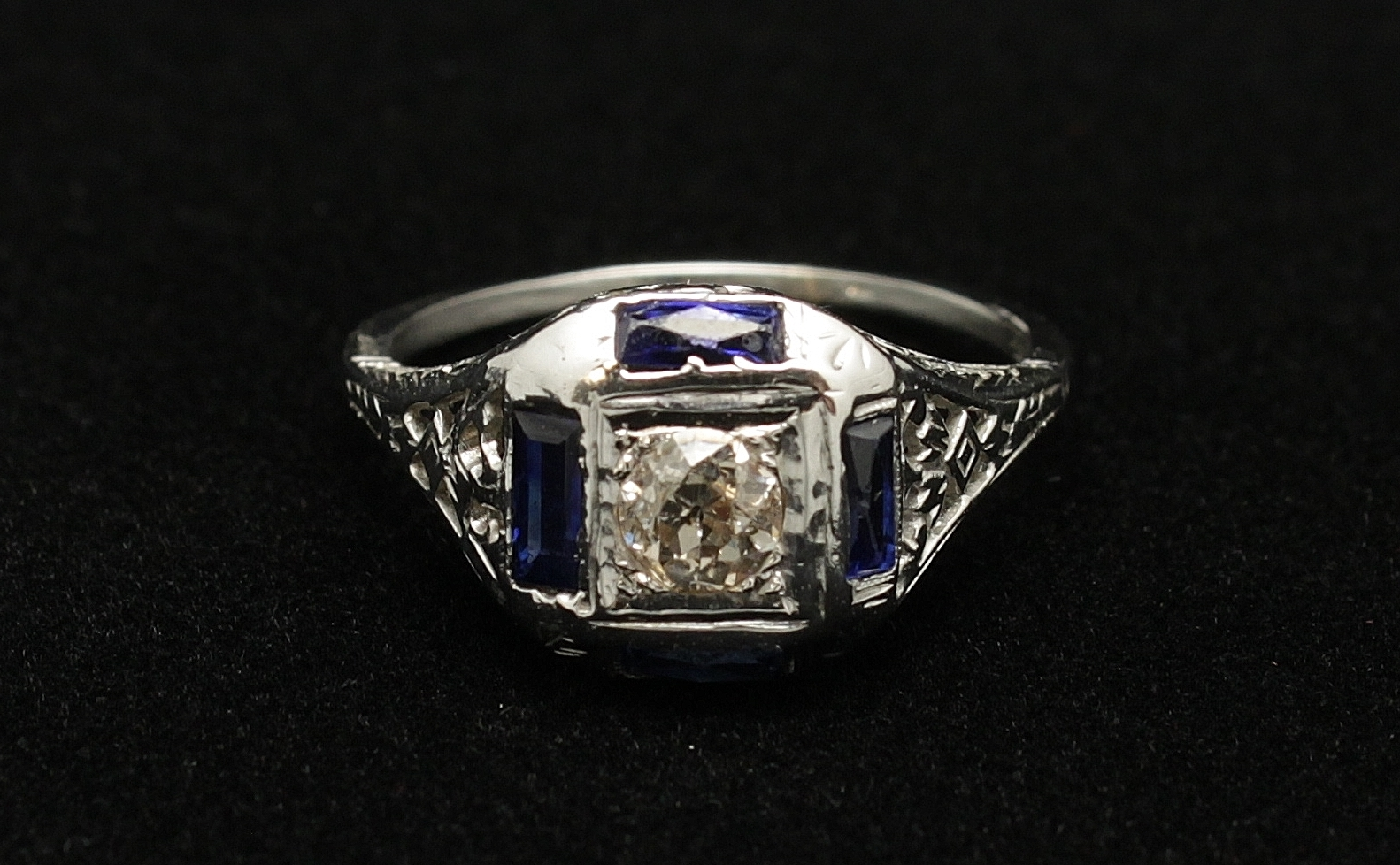 Antique 14kt Diamond Old Mine Cut .40cts  Sapphire 1ct