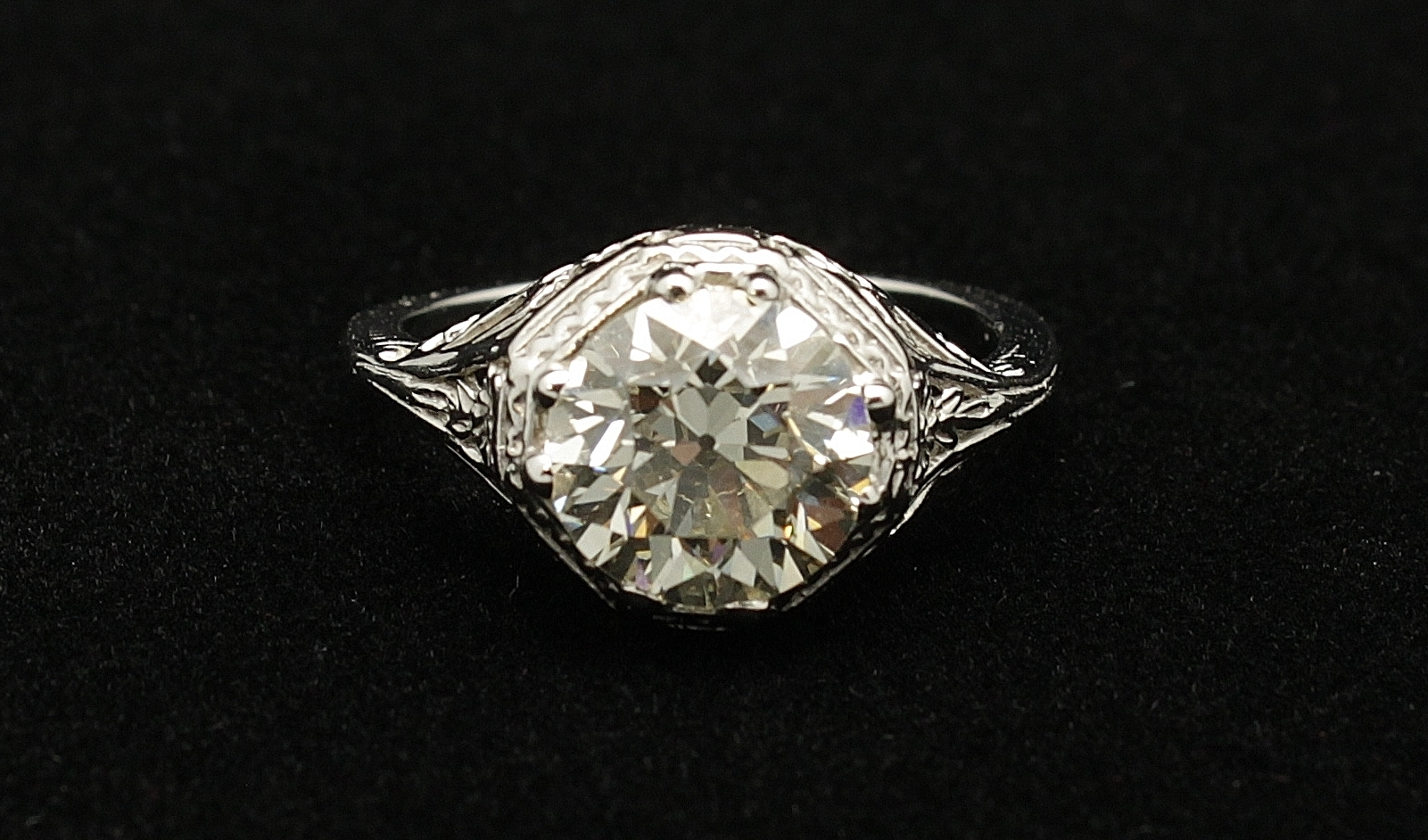 Antique 14kt Diamond Old European Cut Ring 2.4cts