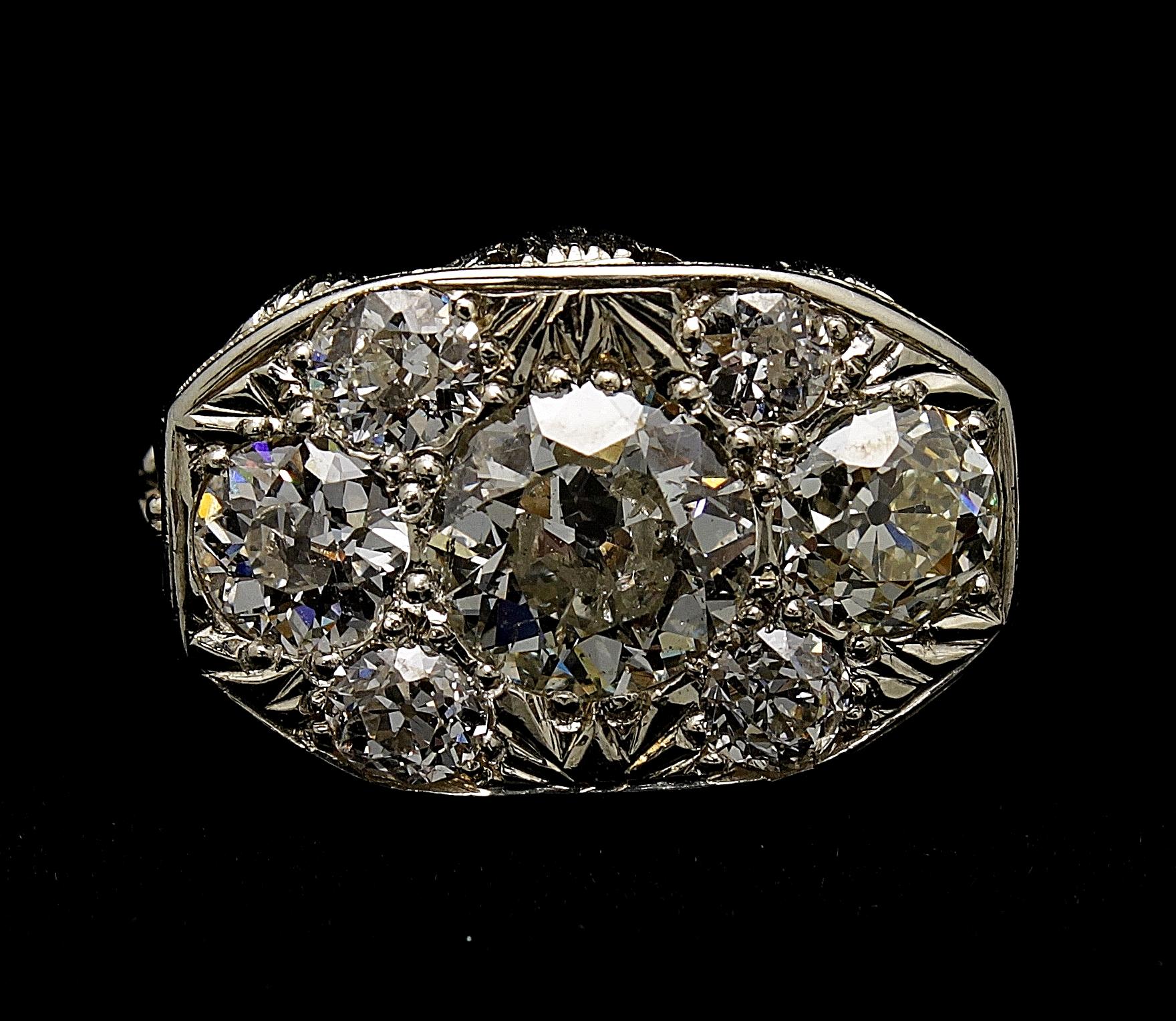 Antique 18kt Diamond Old Mine Cut Ring 5.40cts