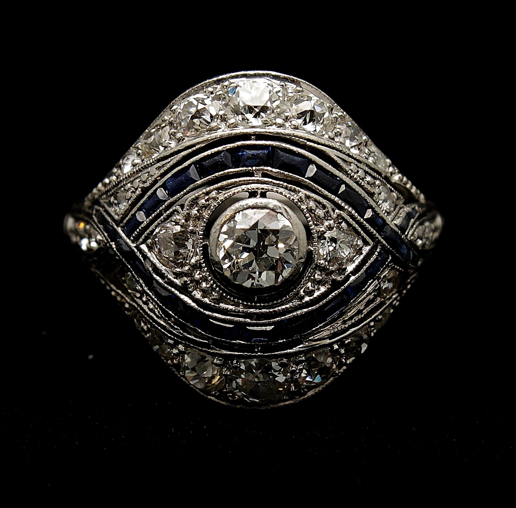 Antique Platinum Diamond Old European Cut 2.40cts Sapphire .80cts Ring