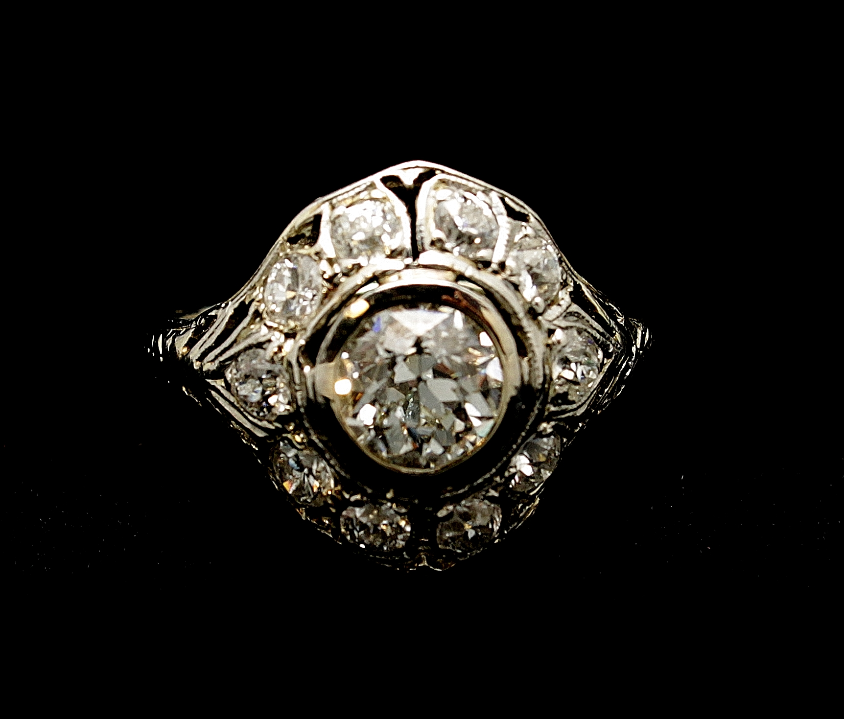 Antique 18kt Diamond Old European Cut Ring 1.53cts