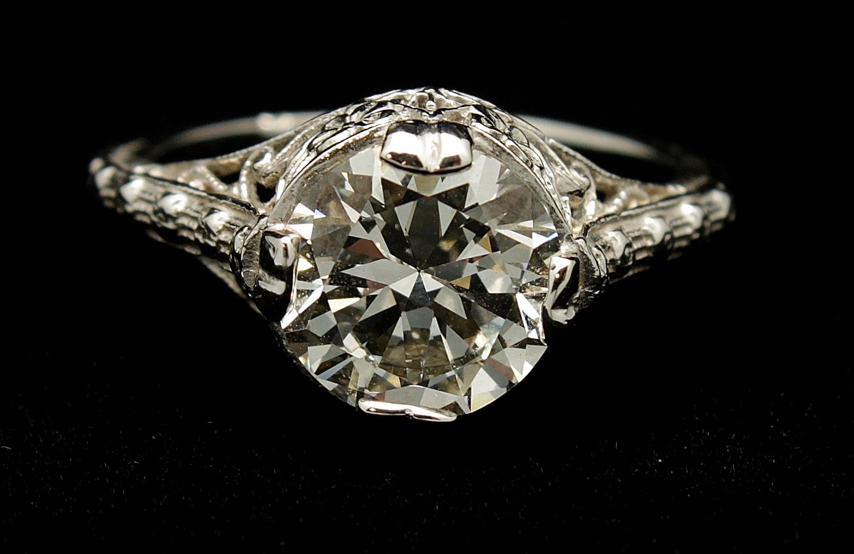 Antique Diamond Old European Cut 2.30cts Ring