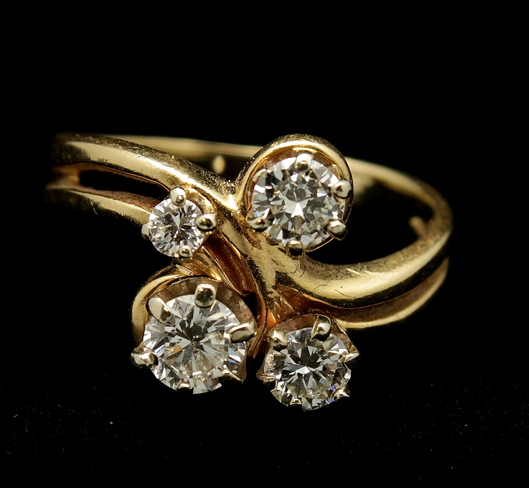Vintage 14kt Diamond Old European Cut 1.15cts Ring