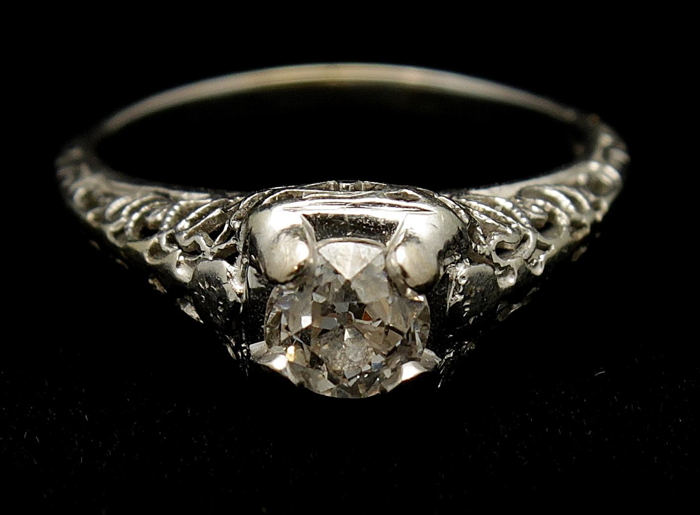 Antique Diamond Old European Cut .40cts Ring