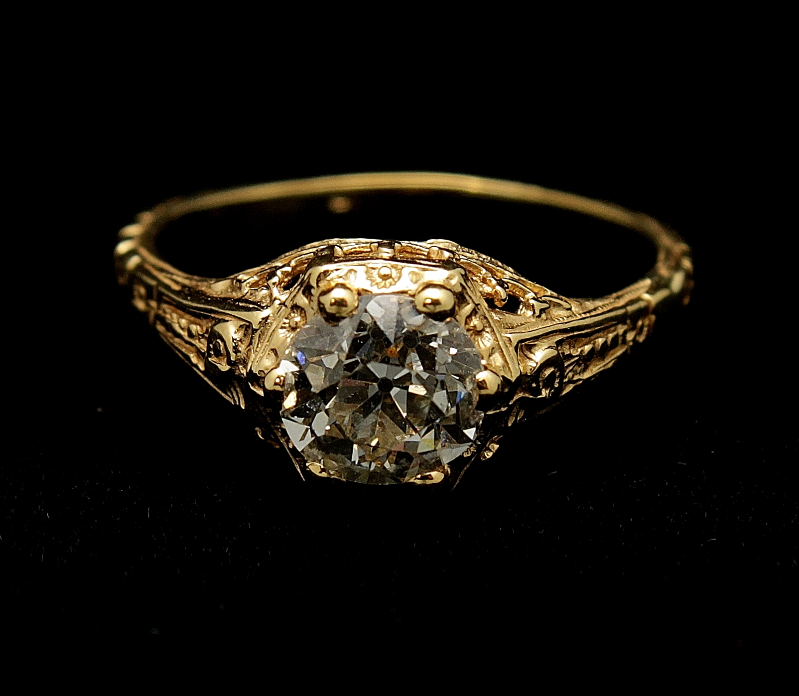 Antique 18kt Diamond Old European Cut 1ct Ring