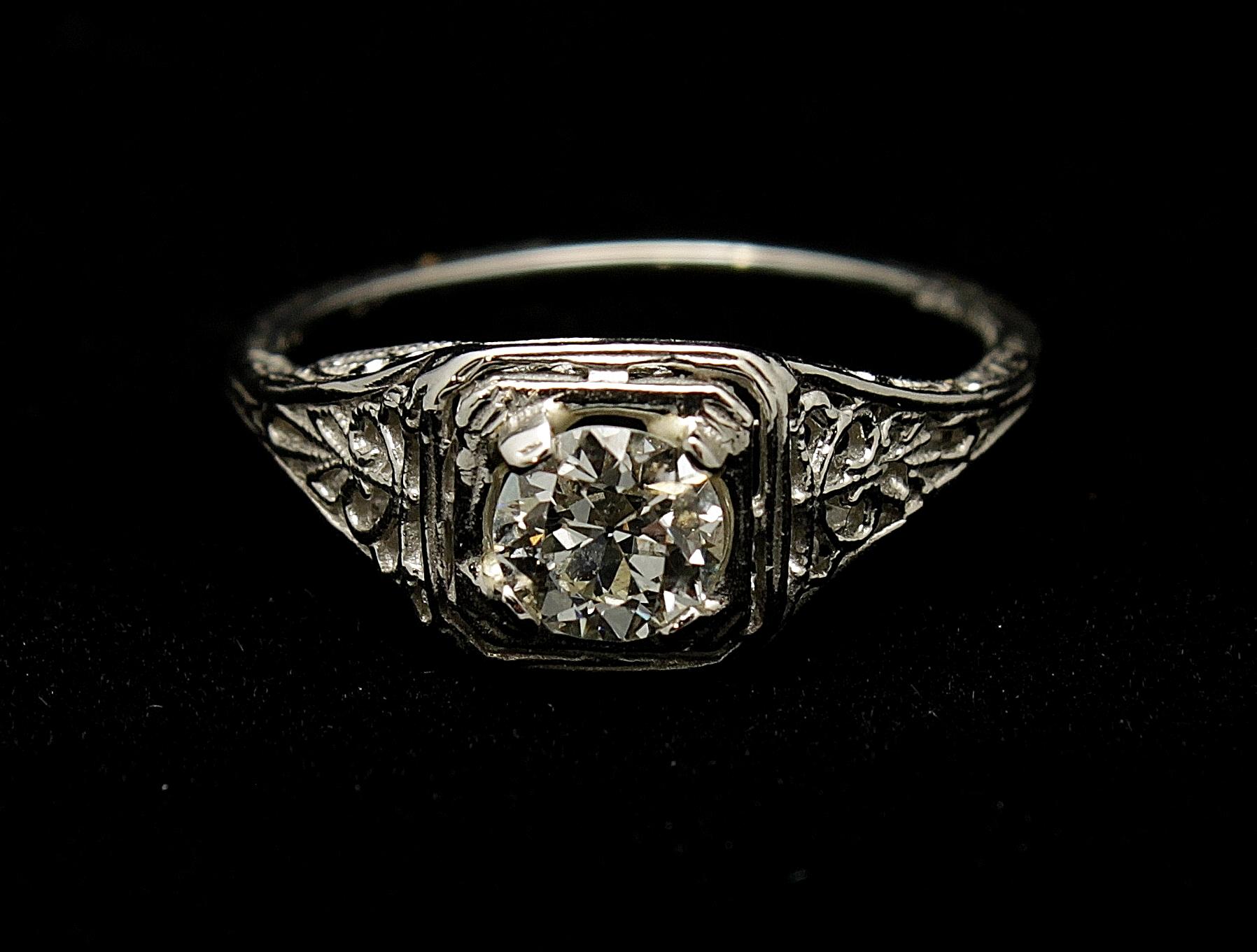 Antique Platinum Diamond Old European Cut .60cts Ring