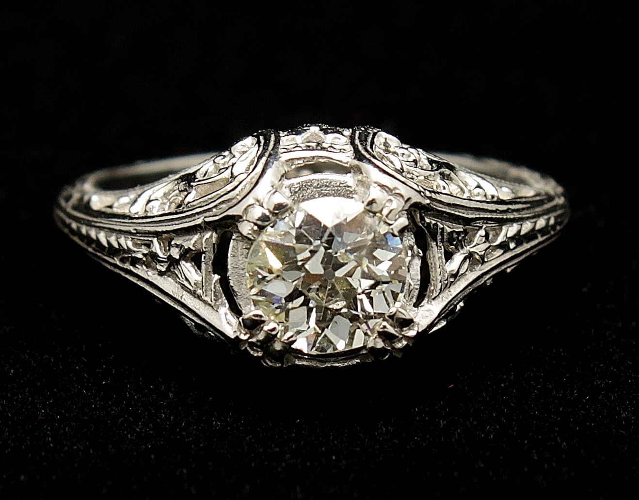 Antique Platinum Diamond Old Mine Cut .75 Ring