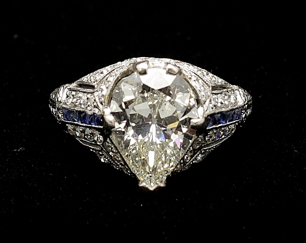 Antique Platinum Diamond Old European Cut Pear 3cts and Sapphire Ring
