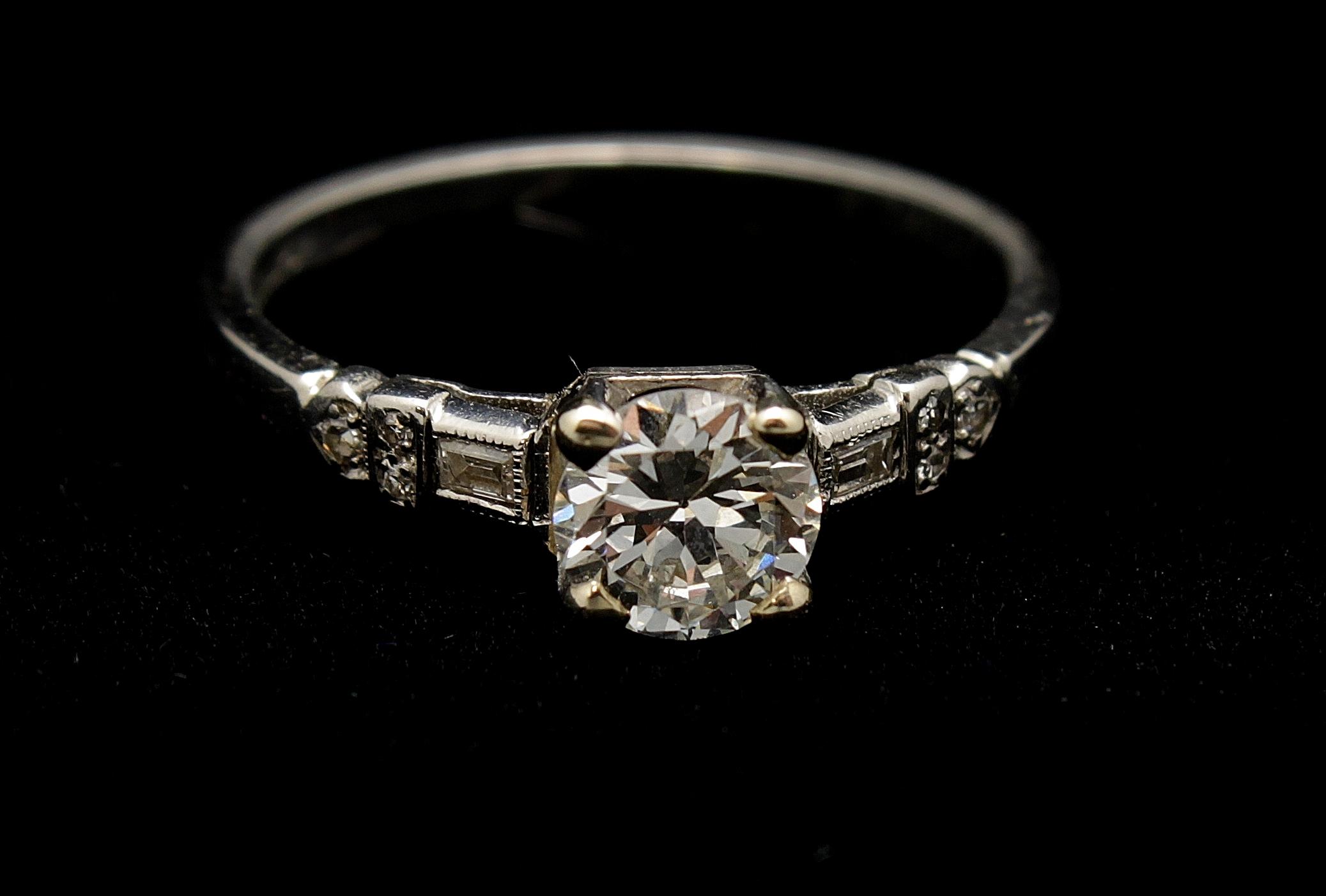 Antique Diamond Old European Cut Ring 1.20cts