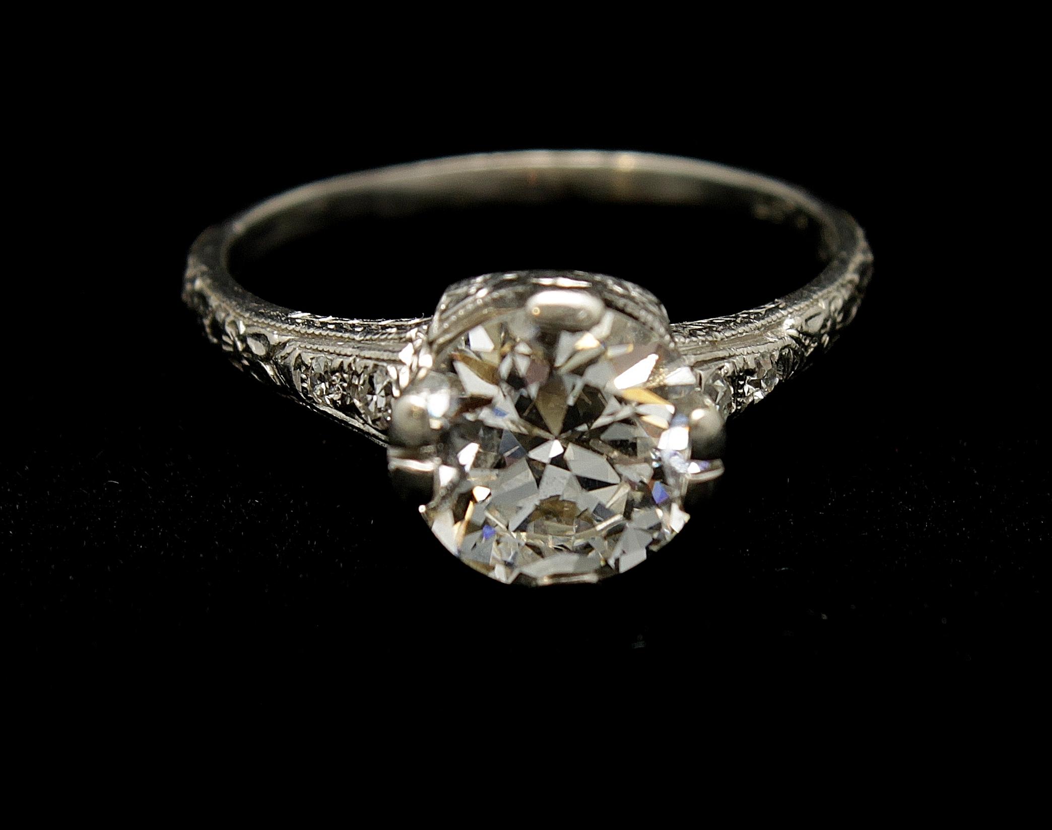 Antique Platinum Diamond Ring 1.90cts