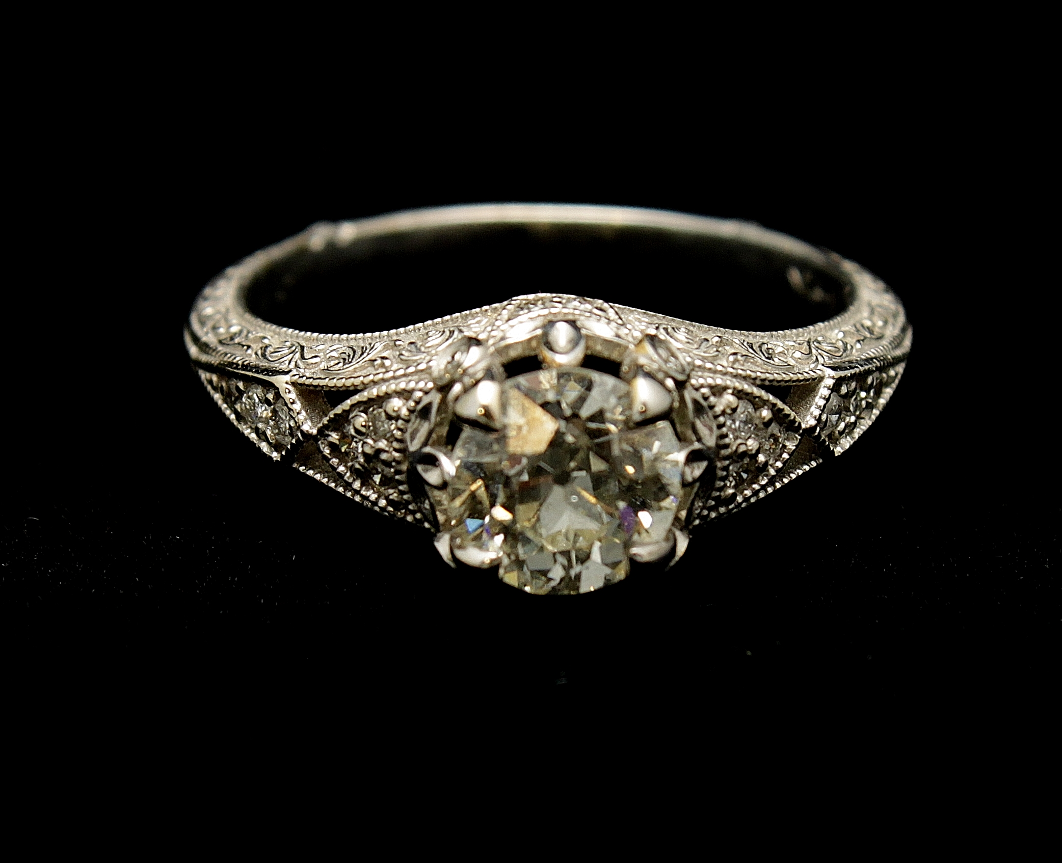 Antique 14kt Diamond Old European Cut Ring .95cts