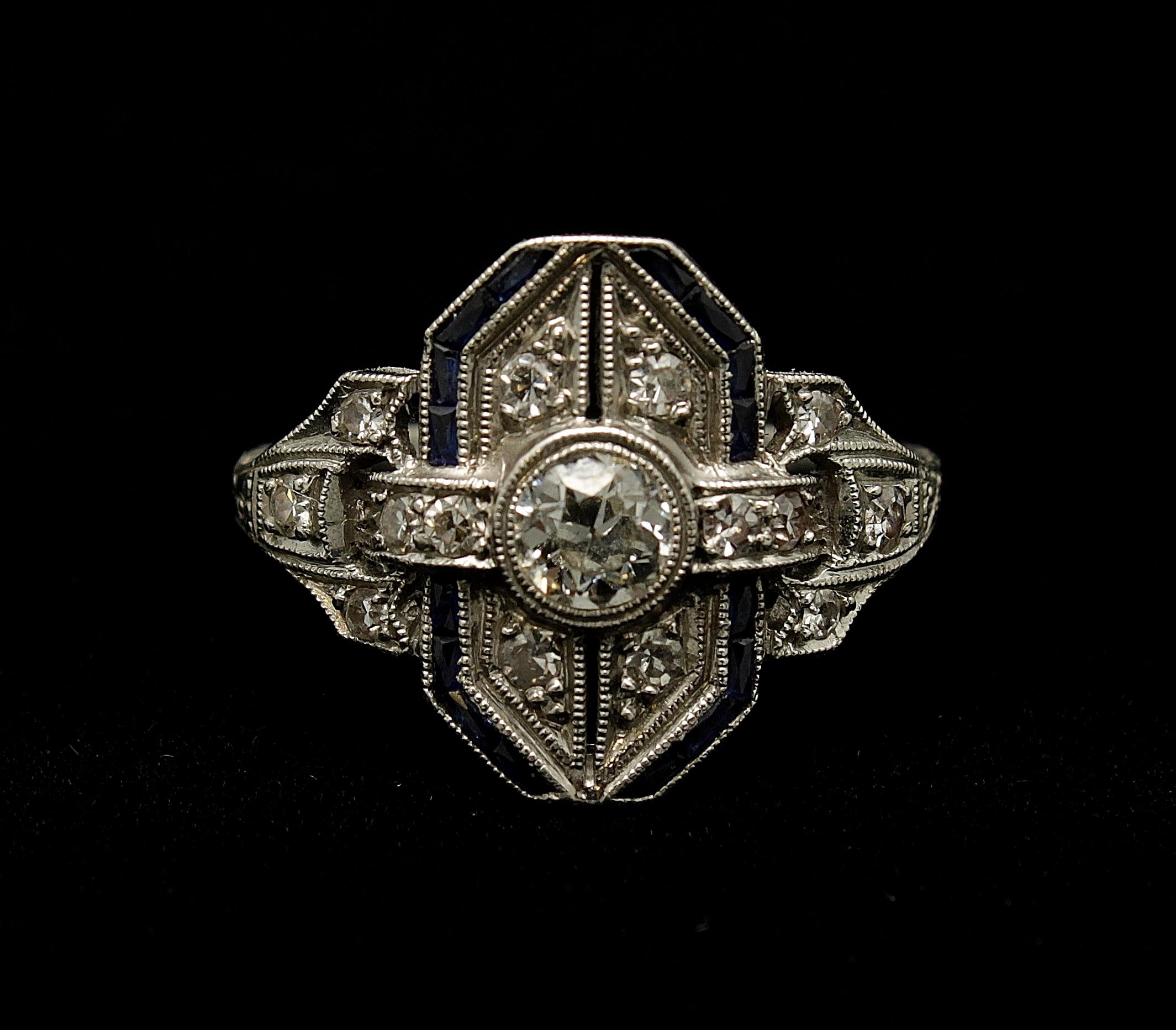 Antique Platinum Diamond 1ct Sapphire .50cts Ring