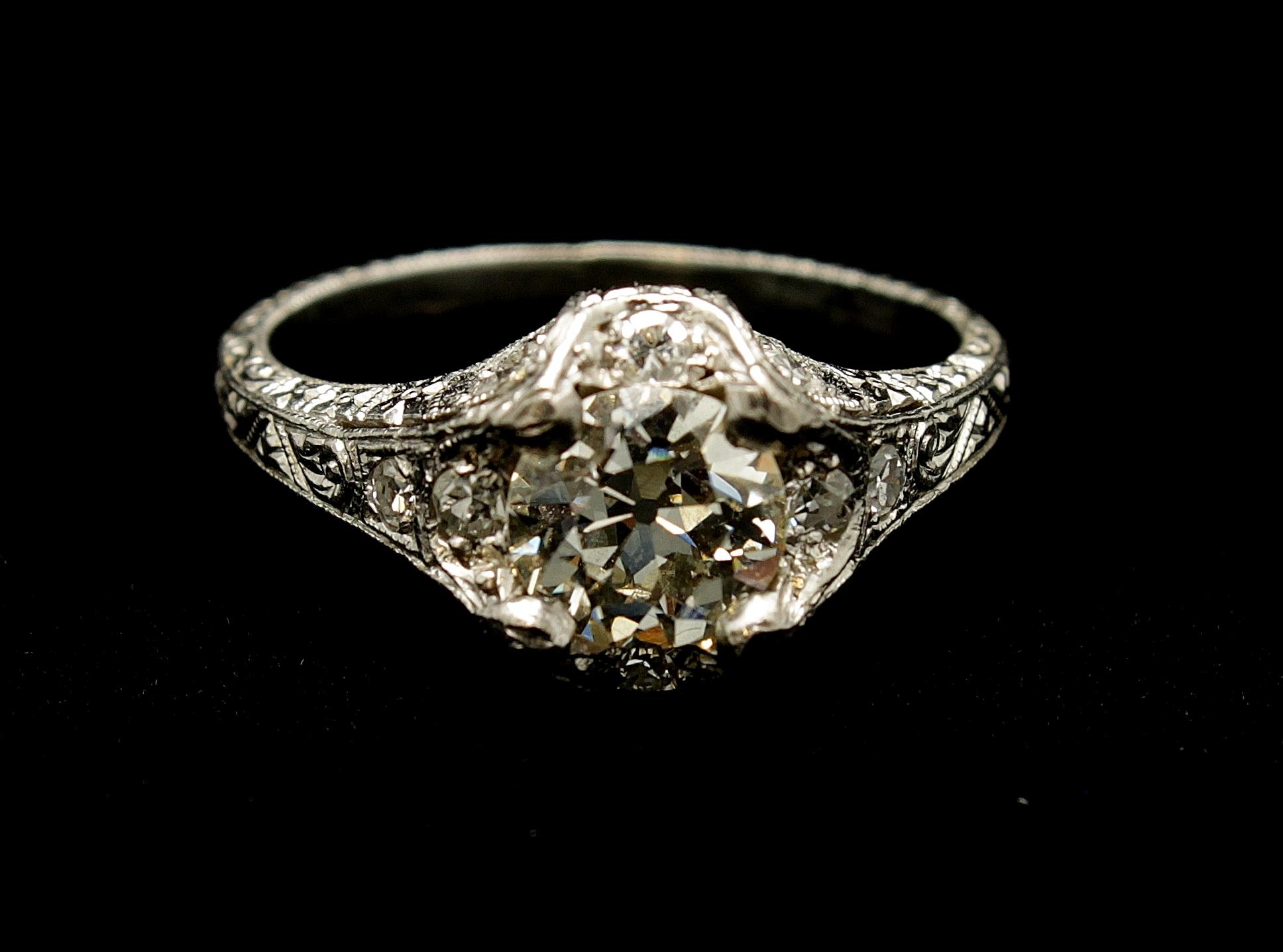 Antique Platinum Diamond Old European Cut Ring .90cts