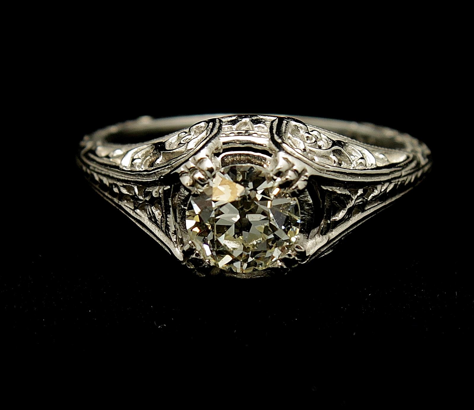 Antique Platinum Diamond Old Mine Cut .80cts Ring