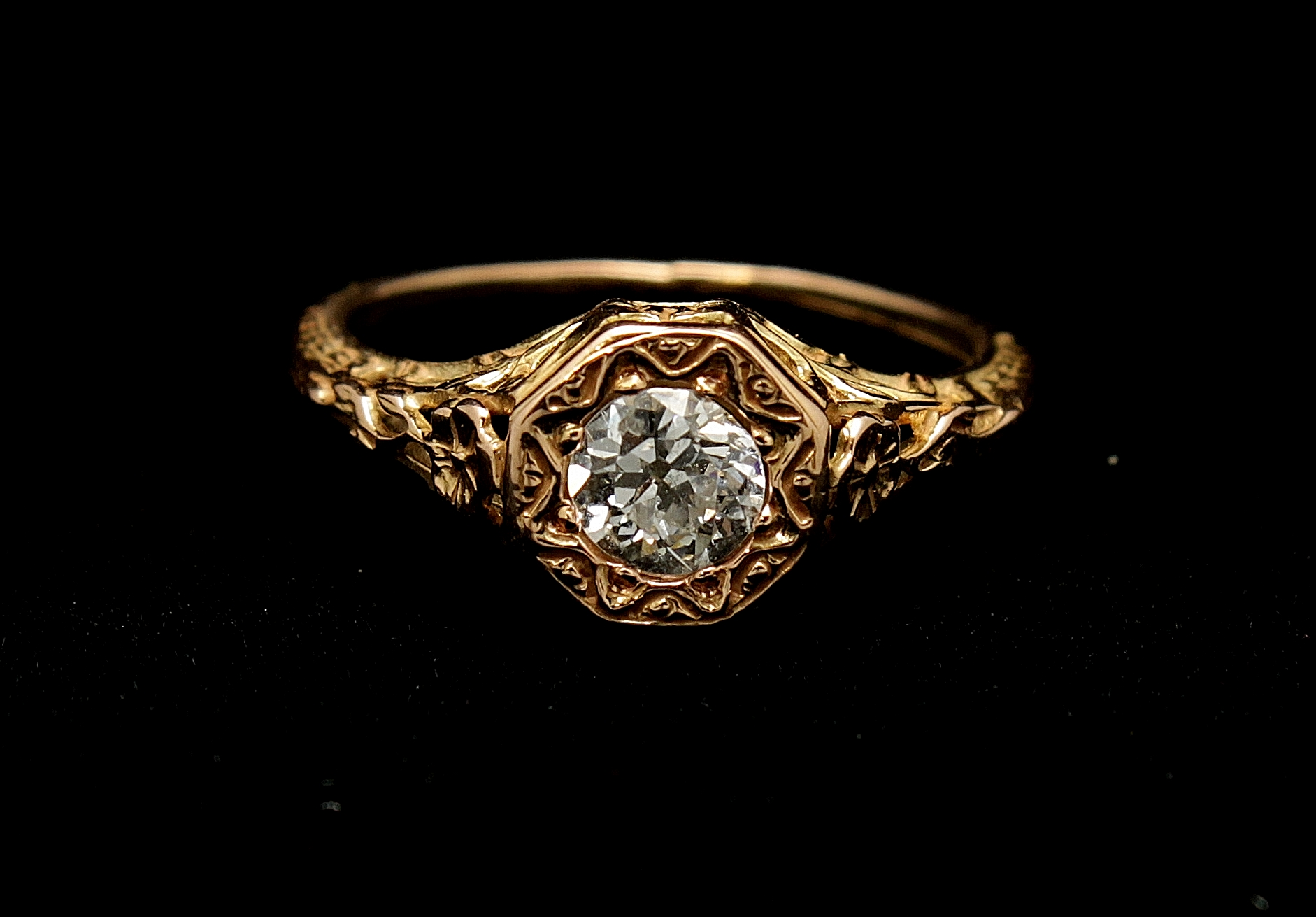Antique 14kt Diamond Old Mine Cut .70cts Ring